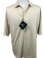 Slazenger Mens Beige Golf Shirt Size Large Short Sleeve Mercerized Cotton New