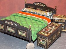 Dollhouse Miniature Bedroom Russian Folk Art Bed B 1:12 scale K13 Dollys Gallery