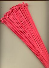 """100 14"""" Inch Long 50# Pound FLUORESCENT PINK Nylon Cable Zip Ties Ty Wraps USA"""