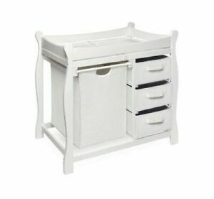 Badger Basket Sleigh Style Changing Table with Hamper and 3 Baskets - White