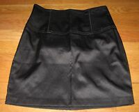 Forever 21 Junior's Skirt Straight Pencil Mini Satin Bodycon Black size Small