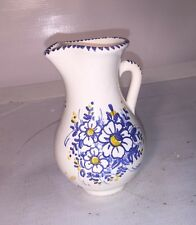 Small Pitcher w/Blue Dot Edging & Painted Blue Yellow Flowers
