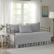 5 Pieces Daybed Bedding Cover Set Comforter Type Stitched Quilt Pattern Grey