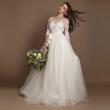 New Lace A Line Long Sleevle Wedding Dresses White Bridal Ball Gown Custom 2-28