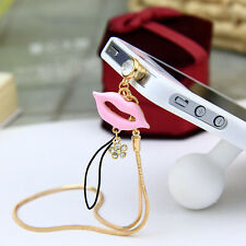 Pink Lips Cellphone Charm Anti Dust Plug 3.5mm Ear Cap jack For iPhone,Samsung