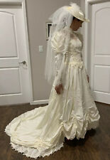 Vintage 1980's Victorian Style Wedding Dress Sz 10 Beaded Gown Train Ivory