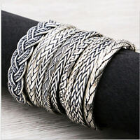 Real 925 Sterling Silver Cuff Bracelet Braided Perimeter 15cm to 18cm