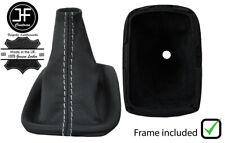WHITE STITCH LEATHER SHIFT BOOT+PLASTIC FRAME FOR VOLVO C30 S40 V50 2004-2012