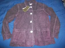 NWT Denim & Co Company Large Chocolate Brown Washable Leather Button Front Shirt