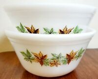 """LOT OF 2 Vintage Big 7"""" Federal USA White Glass Maple Leaf Pattern Mixing Bowl"""
