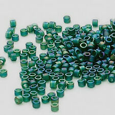 Miyuki Delicas 11/0, Matte Tr Emerald Green Ab, Db 859, 50g bag glass beads