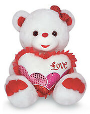 "14"" Valentine Teddy Girl LOVE Sparkle Stuffed Animal Plush Bear - Oso de Peluche"
