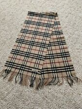"Authentic Burberry Cashmere Scarf Made In England 58"" X 12"" & Fringe"