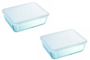 Pyrex Cook& Freeze Food Rectangular Storage Serving Dish with Lid 1.5L - 2Pcs