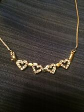 Gold Heart With Crystals Retail $65+ Necklace Jewels By Parklane 2 In 1