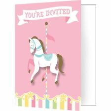 Carousel Baby Shower 8 Ct Invitations with Attachments, Envelopes