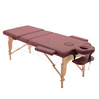 3 Fold Massage Table Spa Couch Bed Foldable Portable w/ Carry Case Dark Red