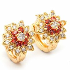 Pretty New 24K Yellow Gold Filled Red & White Flower CZ Huggie Hoop Earrings