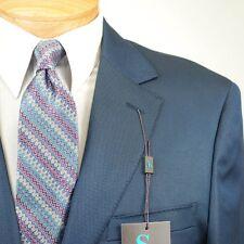 44L STEVE HARVEY Solid Blue Suit - 44 Long Mens Suits - SH03
