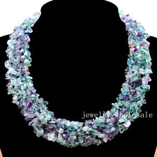 C-3 Fashionable Rainbow fluorite Freeform Chips Beads necklace 18 inch