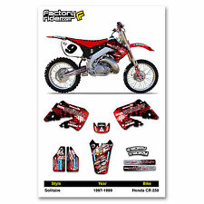1997-1999 HONDA CR 250 Solitaire Motocross Graphics Dirt Bike Decal Sticker Kit