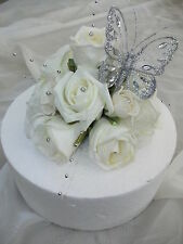 WEDDING FLOWER CAKE TOPPER, IVORY AND SILVER