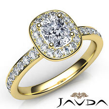 Cushion Diamond Halo Pave Engagement Ring GIA F Color VS2 18k Yellow Gold 0.87Ct