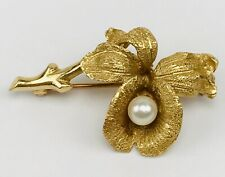 Vintage 14k Solid Yellow Gold & Cultured Pearl Flower Branch Brooch