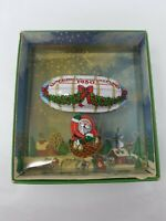 Vintage 1980 Hallmark Santa's Flight Tin Metal Blimp Zeppelin Christmas Ornament