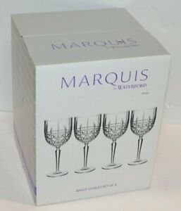 Marquis By Waterford Brady Goblet Glasses, Set Of 4 New
