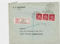 oslo 1930 registered stamps cover ref 12866