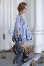 BLU PONY VINTAGE FALL blue stripe seersucker ruffles DRESS SIZE 8