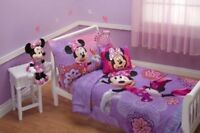 "Kids Girls Toddler Bedding Set Disney 4 Piece Minnie Mouse Lavender 28"" X 52 New"