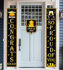 luck sea 3Pcs Graduation Banners Party Supplies 2020 Decorations Door Porch Grad