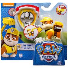 Paw Patrol Rubble carattere Kids Confezione ACTION PUP Personaggio distintivo ufficiale