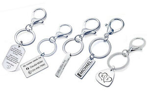 Karabiner Schlüsselanhänger aus Edelstahl mit Gravur nach Wunsch Schlüsselbund