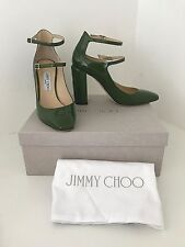 New Jimmy Choo moss green patent leather high heels uk size 6.5 eu 40 with box