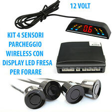 KIT 4 SENSORI DI PARCHEGGIO WIRELESS PER AUTO CON DISPLAY LED ACUSTICO NERI