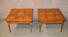 Vintage Pair of Mid Century Modern Tables w/Inlaid Burl Tops