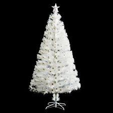 HOMCOM 5' Artificial Christmas Tree Pre-lit Fiber Optic LED and Stand White