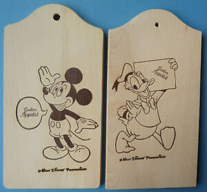"Two Wood Plaques – Donald & Mickey – German ""Guten Appetit"""