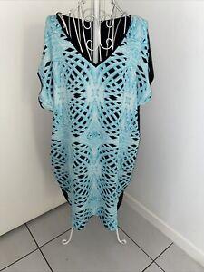 Wayne Cooper Cold Shoulder Dress Size 12 Aqua