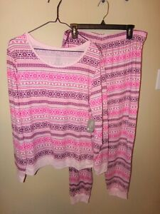 Secret Treasures Women's Pajama Set-L-12/14-Pinks-Stretchy-Soft-Lightweight