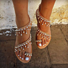 00f834c2bde4 Women Pearl Ankle Strap Gladiator Sandals Casual Slip On Peeptoe Shoes Size  5-8