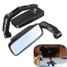 2x Universal Motorcycle Bike Rectangle Rear View Side Mirrors 8mm 10mm Black US