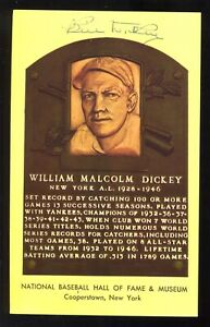 SIGNED Auto HOF Plaque Yellow Postcard BILL DICKEY New York Yankees A19