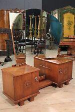 Psiche 3 specchi 2 ante console rustica scolpita in legno rovere stile antico XX