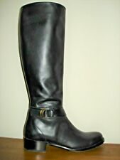 RUPERT SANDERSON 38.5 Navy Riding Boots Knee High Gold Buckle Excellent Cond