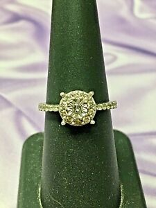Sterling Silver Diamond Halo Engagement or Fashion Ring Sz 6.75  6 3/4