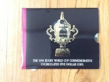1991 NZ Rugby World Cup Commemorative Five Dollar Silver uncirculated Coin